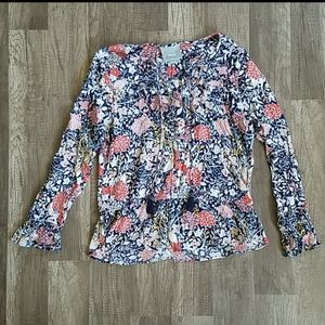 Anthropologie Maeve Floral Cinched Waist Blouse